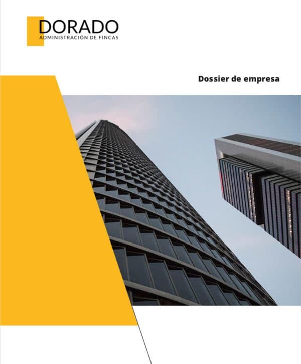 portada dossier de empresa dorado administracion y gestion
