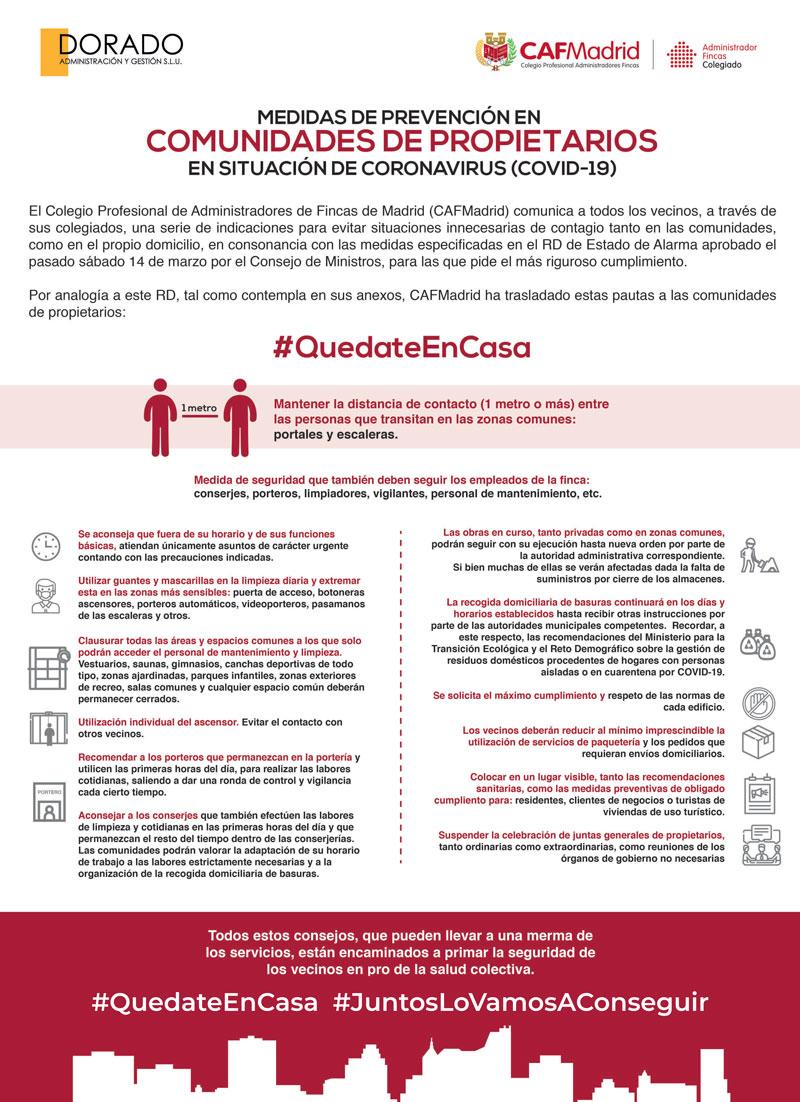 DORADO AYG infografia de medidas CAF CORONAVIRUS Comunidades de propietarios