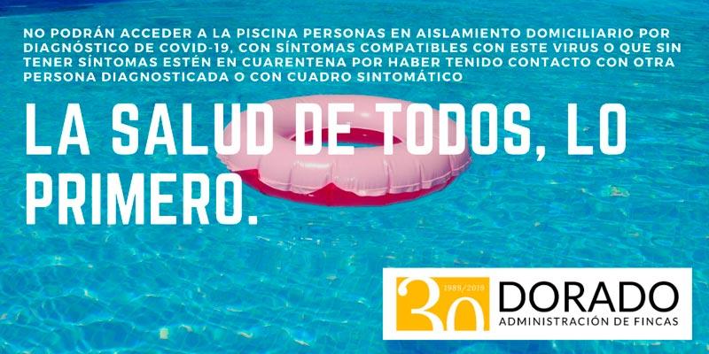 No usar piscina covid 19 la salud de todos lo primero. Dorado administracion y gestion de fincas